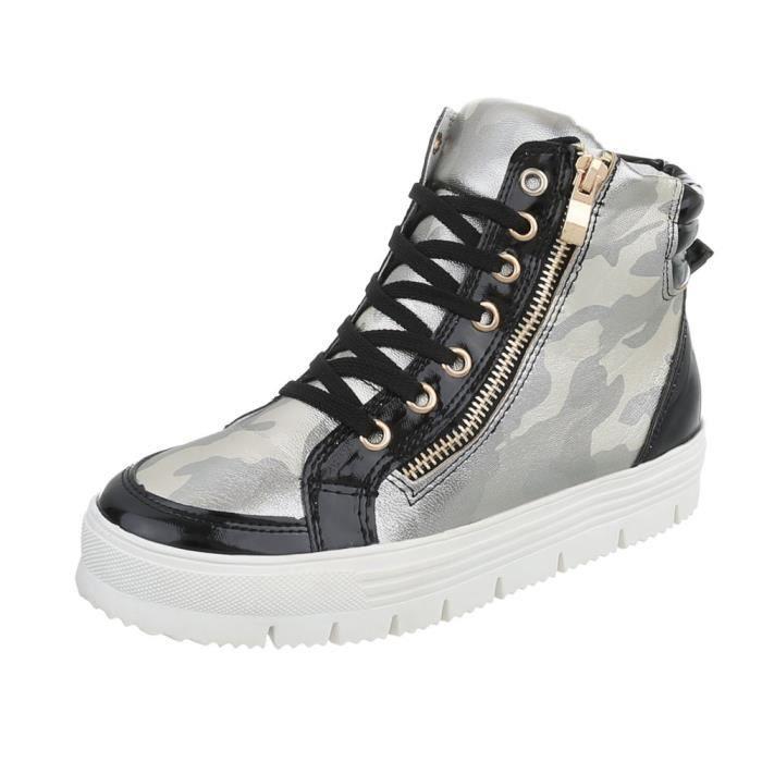 Chaussures femme Chaussures de sport des baskets noir argent 40
