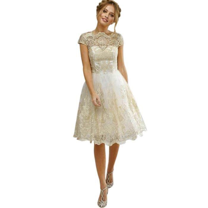 176c2c0f9a5 exquisgift®Dentelle de broderie noces cérémonie robe de soirée de  demoiselle d honneur robes de bal BEIGE~WWC70829342BGA