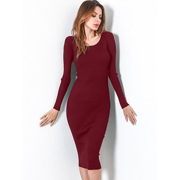 f8fe3e6b900 Lace Up Backless Long Sleeve Bodycon Dress Rouge Rouge - Achat ...