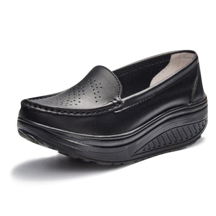 Chaussures Femmes Printemps ete Plate-Forme Chaussures BSMG-XZ058Noir38 FZNHBZJS