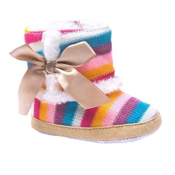 BOTTE Bébé fille arc-en-ciel doux semelle de neige bottes de crèche souples chaussures pour tout-petits@CouleurHM