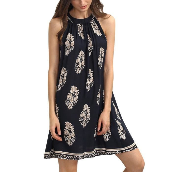 Womens Summer Sleeveless Floral Printed Halter Mini Dress 2PL9KS Taille-40