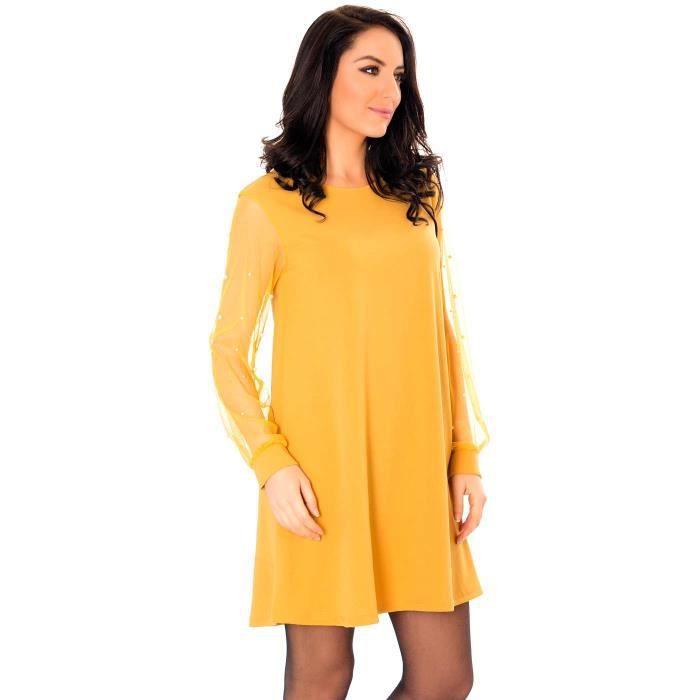 9bac65176585 Miss Wear Line - Petite robe jaune moutarde avec jolies manches bouffantes  en tulles avec détails perlés
