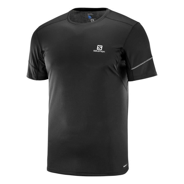 8443495d380ff SALOMON T-shirt de running Agile - Homme - Noir - Prix pas cher ...