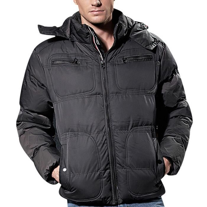 70416ade7f7e Doudoune à capuche Homme Hiver Marque épais Grande Taille Mode veste Noir