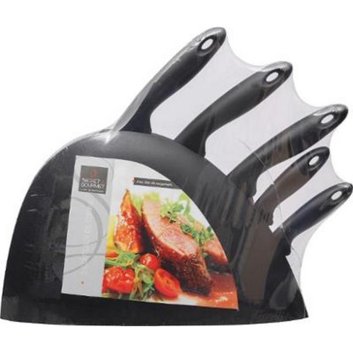 Bloc 5 couteaux de cuisine secret de gourmet noir achat vente ensemble de d coupe bloc 5 - Ensemble couteaux de cuisine ...