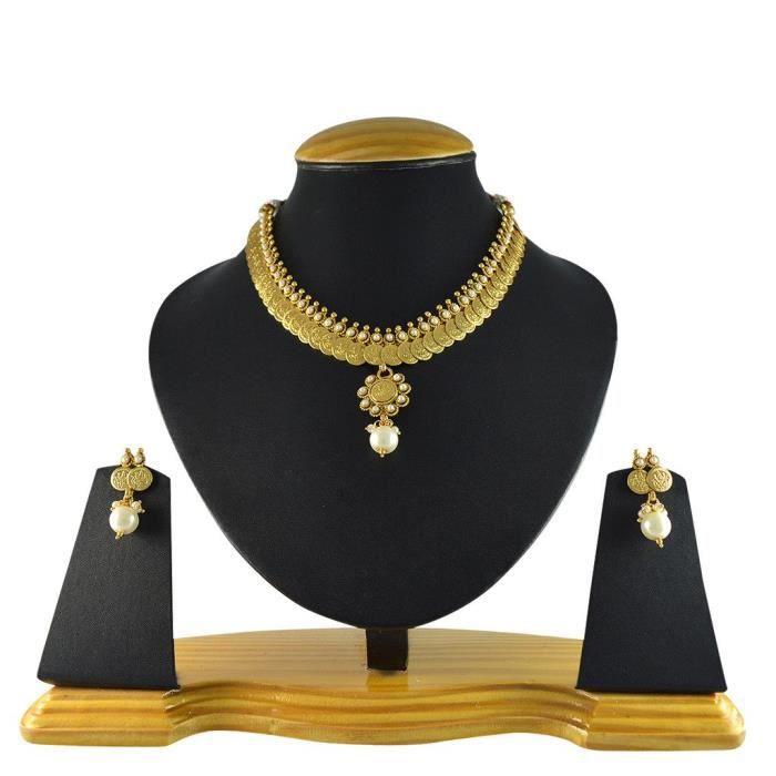 Femmes Temple South Indian blanc en alliage de cuivre avec collier Ensemble de bijoux et boucles doreilles pourINJGS