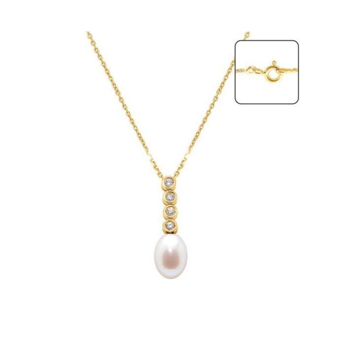 Pendentif Perle de Culture deau douce Blanche, Diamants et Or Jaune 750-1000 - Blue Pearls