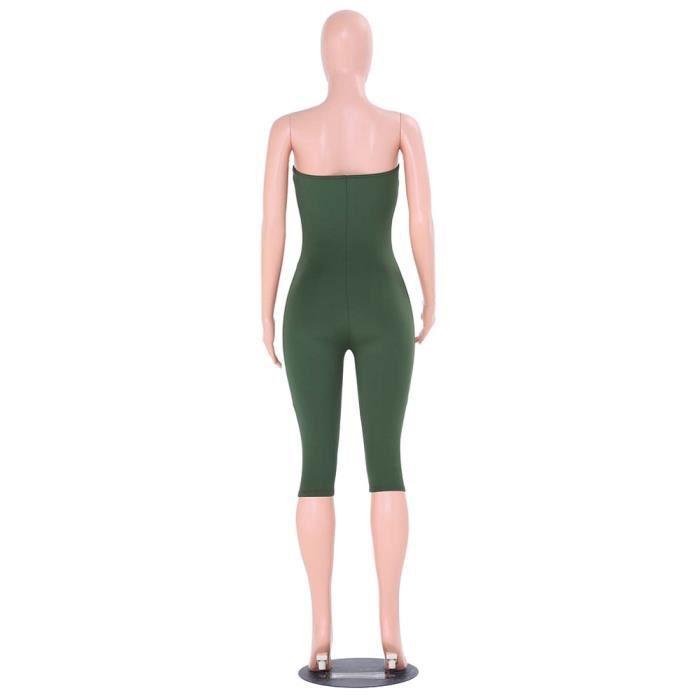 Dames Pantalon hexq Clubwear Party Combinaison Cc2663 Femmes Verte Bodycon armée Manches Sans Combishort gPdxnqPwY