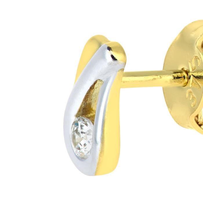 9 Ct or jaune et blanc Teardrops Boucles doreilles avec Cz Pierre 1LZK1A