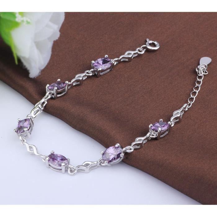 Bracelet Luxueux s925 argent modèles féminins Bracelet Améthyste bracelet argent sterling