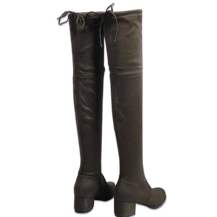 bottes en fausse daim chaussures femmes longueslacet du genou à talon bas.