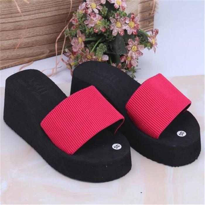 Chaussure Femme chaussures à plateformes LéGer Version Sandal Femmes Tongues Femmes Pantoufle éTé Grande Taille,noir,37