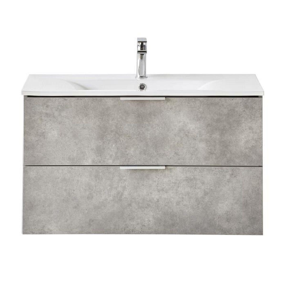 luxy meuble de salle de bains effet bton 90cm - Salle De Bain Effet Beton