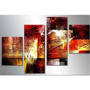 OBJET DÉCORATION MURALE 4 pieces non encadrées abstrait coloré paysage mod