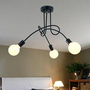 LUSTRE ET SUSPENSION 3 Tête Plafonnier Lustre Vintage Led Lampe Noir In. U2039u203a