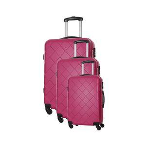 SET DE VALISES BAG STONE Set de 3 Valises 4 roues S/M/L Fuschia L