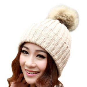 bf3341100382 BONNET - CAGOULE Bonnet à pompon femmes élastique nouveau mode