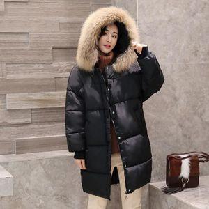 GLAM®Nouvelle mode femme hiver coton épais longue section genou ... 001f3ec39678