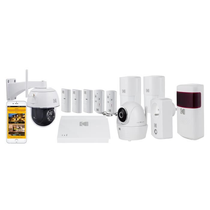 KODAK Pack Alarme maison sans fil avec 2 caméras de surveillance Full Protection
