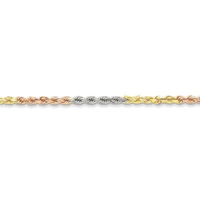 Tri-Color 14 carats - 4 mm-taille diamant corde chaîne Bracelet 7 - Pince