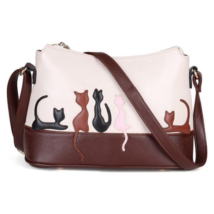 8d3c35f17a Sac à main en cuir épaule motif chat portefeuille bandoulière pochette femme