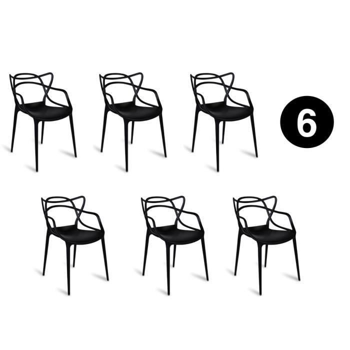 Lot De 6 Chaises Masters Noires Inspiree Kartell Philippe Starck