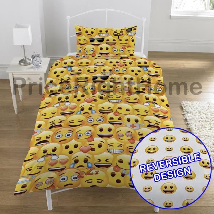 Emoji multi smiley faces simple housse de couette et taies d 39 oreiller achat vente housse de for Housse de couette simple