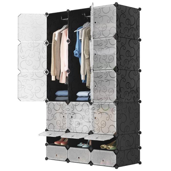 Langria 18 Cube Penderie Armoire De Chambre Modulable Plastique