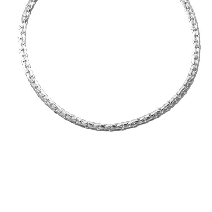 Collier Or Blanc Véritable - Maille Haricot - Femme