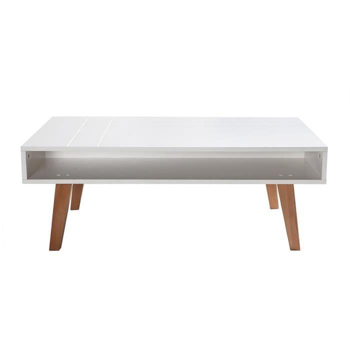 Table Basse Design Laqué Blanc Mat Et Bois Adorna Achat Vente
