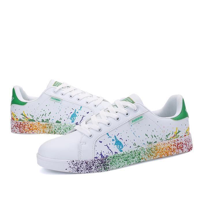 Femmes Graffiti Hommes Impression Chaussures Cuir Blanc Rainbow OdwdFR