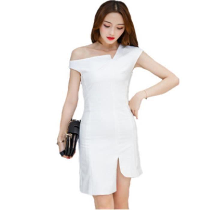 ee50ada0a92 Robe de soirée Femme sexy sans manches courtes gentil Blanc Blanc ...