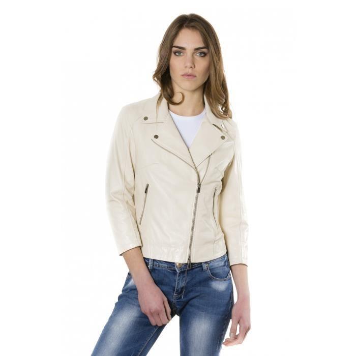 603d2c093200 KCC couleur beige veste en cuir femme perfecto cuir plongé aspect ...