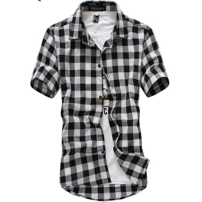 design exquis officiel de vente chaude 60% pas cher Chemises Homme Marque De Luxe manche courte chemise à manches courtes  vetements Plus De Couleur Nouvelle Mode Respirant M-XXXL