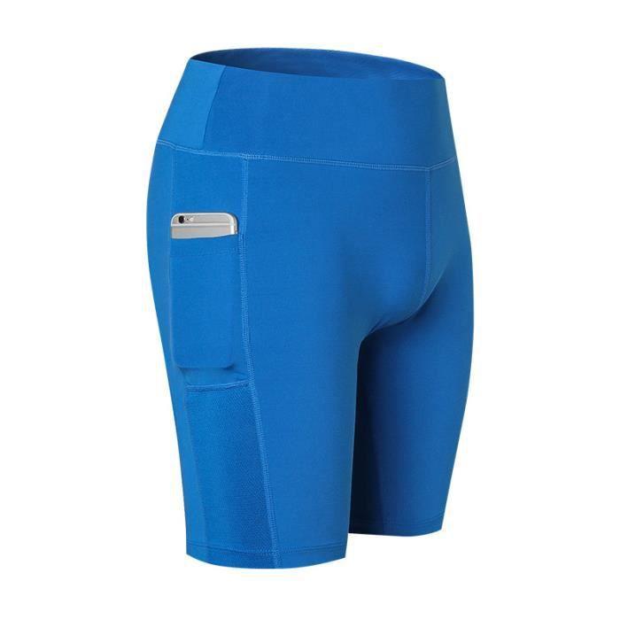 Shorts Femme de Sport Legging Fitness Stretch Taille Haute Pantalon Court  de Yoga Avec Poche 224dbb4dada