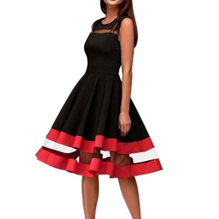 4861725d67 Les femmes Elégantes sexy mi-maille patchwork O-longues COU Parti robe sans  manches@Noir