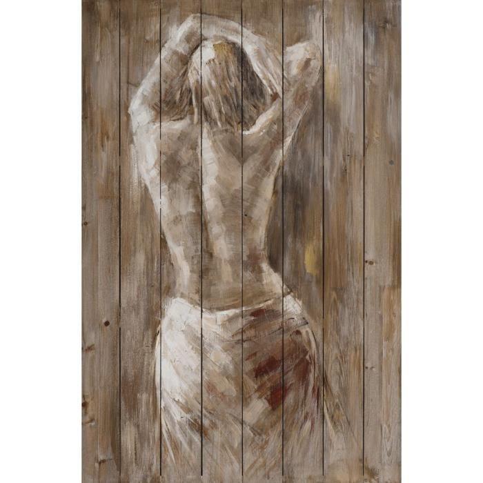 tableau 80x120 peinture sur bois femme nue achat vente. Black Bedroom Furniture Sets. Home Design Ideas