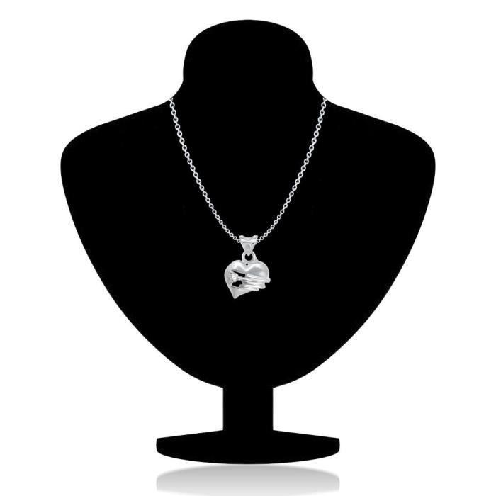 Femmes Valentine raffiné Coeur de forme rhodié Pendentif - P1229r [vkp1229r] [bijoux] Z76OA