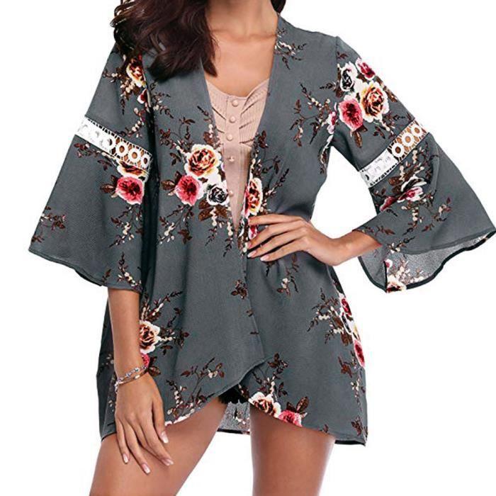Manteau Femmes Kimono Ouvert Blouse Casual Cap Cardigan Florale Veste gris Dentelle TqqxInfg