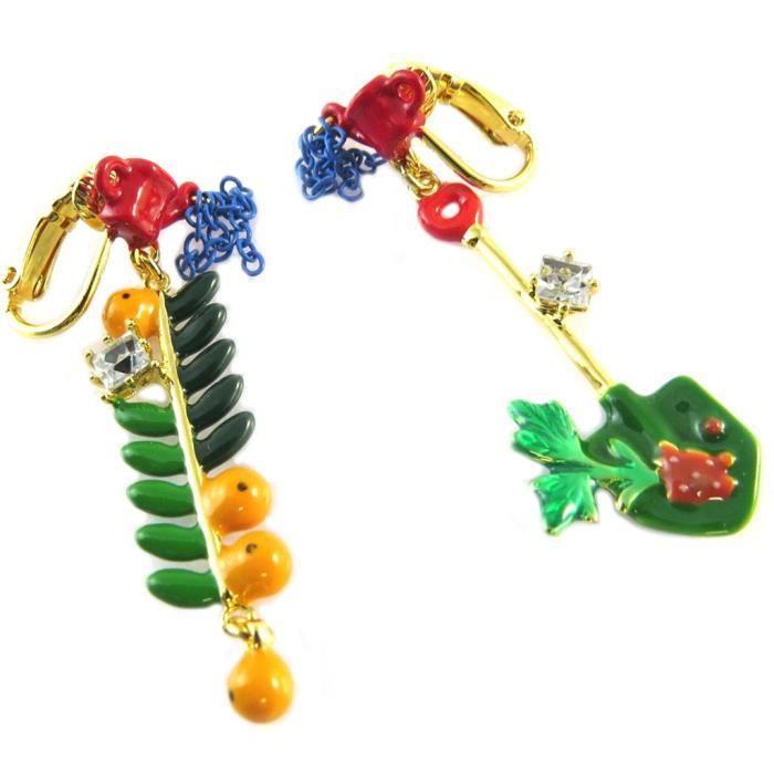 Boucles doreilles clips artisanales Monde Merveilleux (Potager du Bonheur) multicolore doré - 50x15 mm [P2050]