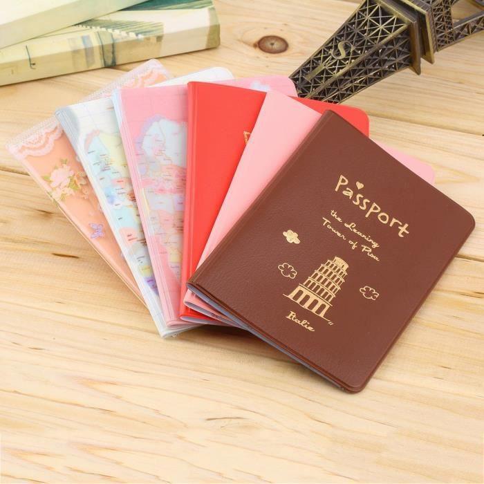 En Carte Pvc Motifs Cuir Porte Monde De Rose Du Passeport passeport Etui 7nxgO