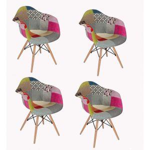 CHAISE Lot 4 fauteuils patchwork tapissés design - ENZO
