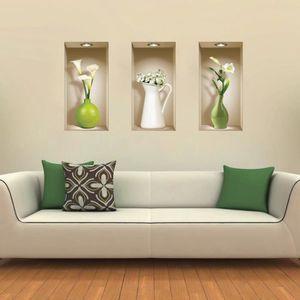 STICKERS - STRASS 3Pcs Stickers Autocollants Vases Muraux Colorés 3D
