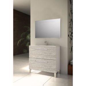 Meuble salle de bain couleur bois avec pied - Achat / Vente pas cher