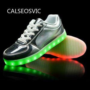 Nouvelle conception d'argent d'usine d'origine chaussures LED USB rechargeable avec des lumi res LED multicolores FeID1gb
