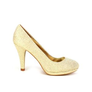 chaussures de sport d0d91 ad665 Escarpin doré paillettes LIANO, Semelle intérieure Confort ...