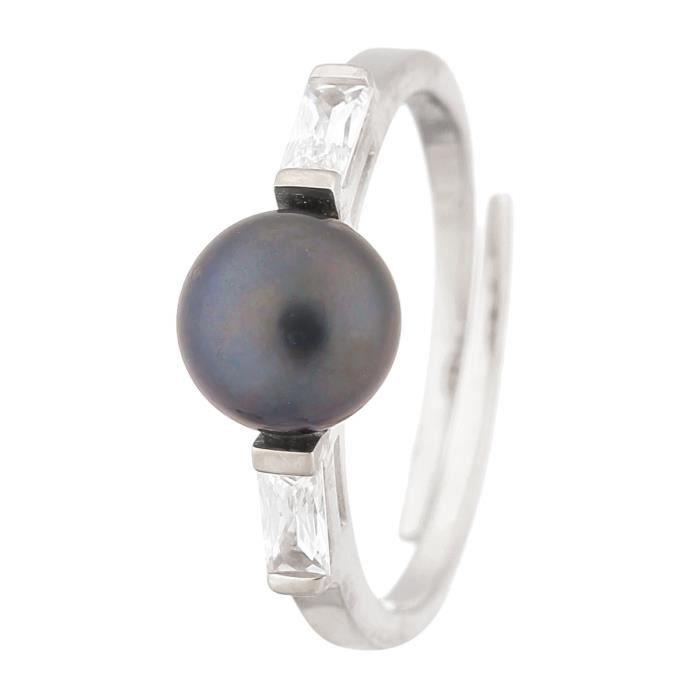 PERLINEA Bague Argent 925° et Perle de Culture Oxydes de Zirconium : Femme