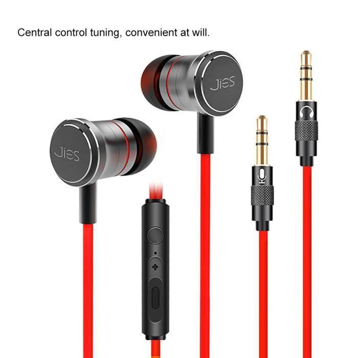 Écouteurs Intra-auriculaires Stéréo Filaires En Métal Sport Mains Libres Avec Micro Pour Téléphone Mp3