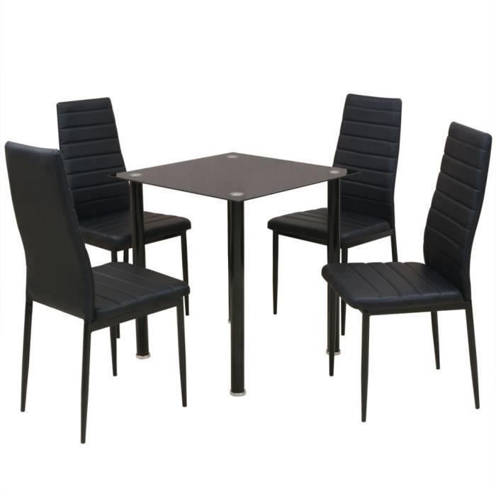 Vidaxl Ensemble Table Et Chaise De Salle A Manger 5 Pieces Noir